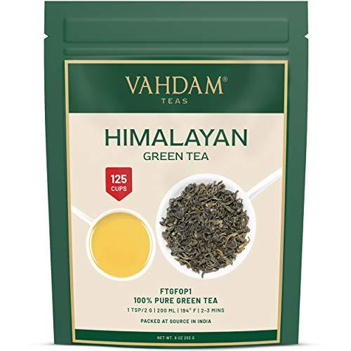 Hojas de te verde de Himalaya (mas de 100+ tazas), hojas sueltas de te verde 100% natural, poderosos antioxidantes naturales, cosecha fresca, 255gr, te verde de hojas sueltas