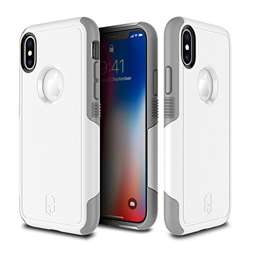 PATCHWORKS iPhone X Case, [Level Aegis] Military Grade Extreme Drop Protection Shockproof Full Protective Anti-Scratch Resistant Heavy Duty Dual Layer Rugged Case for iPhone X / 10 - White/Grey