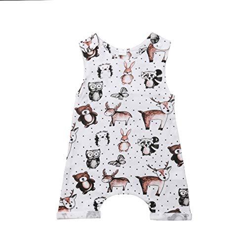 Infant Newborn Baby Boy Girl Clothes Cotton Bodysuit Romper Jumpsuit Sunsuit Outfits Clothing (0-6 Months, Animals Cartoon Owl Fox Bear Deer Romper)