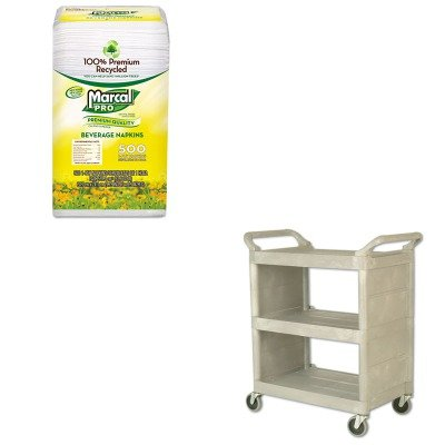 KITMRC28CTRCP335588PLA - Value Kit - Rubbermaid Utility Cart, Platinum (RCP335588PLA) and MarcalPro 100% Recycled Beverage Napkins (MRC28CT)