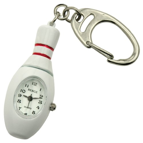 JAS Unisex Novelty Belt Fob/Keychain Watch - Bowling Pin (Bowling Quartz Clock)