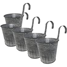 leoyoubei 4.25''diameter-5 Pack Metal Iron Flower Pot Vase Wall Fence Hanging Balcony Garden Patio Planter Home Decor-Artificial flower pots Vase decoration gray
