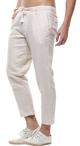 - utcoco Men's Classic Drawstring Waist Tapered Flat-Front Linen Capris (Medium, Khaki)