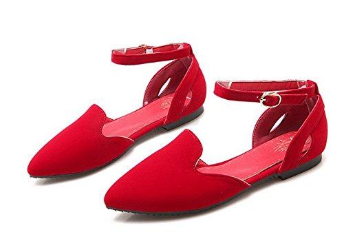 Aisun Womens Trendy Comfortabele Spitse Teen Uitgesneden Gesp Platte Schoenen Met Enkelbandjes Rood