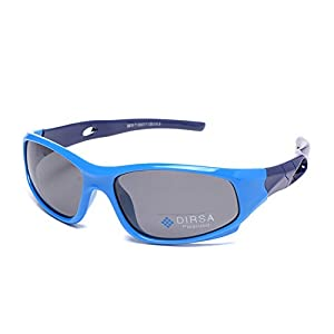 Sports Style Polarized Sunglasses Rubber Flexible Frame UV400 For Boys Girls (Blue&Dark Blue, black)