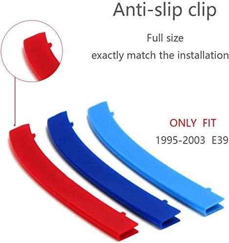 Clip In Grilleins/ätze Gitterabdeckungen kompatibel mit Serie 5 1995-2003 E39 10 Gitter Balken Balken M Power Sport Tech Performance Styling Tuning