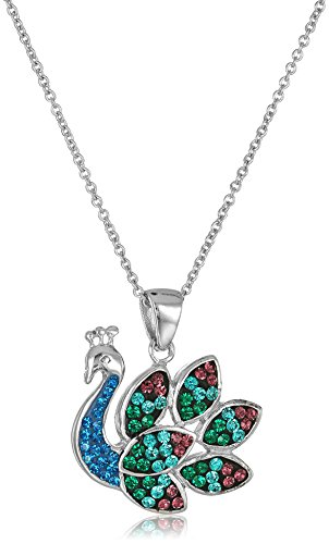 Silver-Plated Crystal Peacock Pendant Necklace, 18