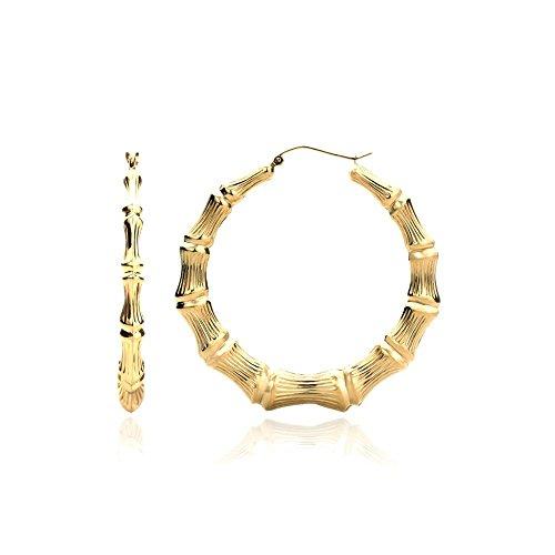14K Yellow Gold 5mm Hollow Plain Gold Bamboo Hoop Earrings