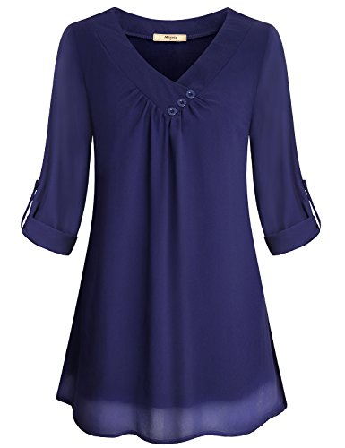Miusey Peasant Blouse Women's Rolled up Sleeve Home Wear Shirt Retro Layering Soft Comfy Beautiful Decorative Button Design Cross V Neck Chiffon Tunic Draped Neckline Woven Tops Navy Blue XXL