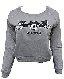 Disney Mickey & Minnie Mouse Juniors Sequin Sweatshirt (L, 3Minnie, H.Grey)