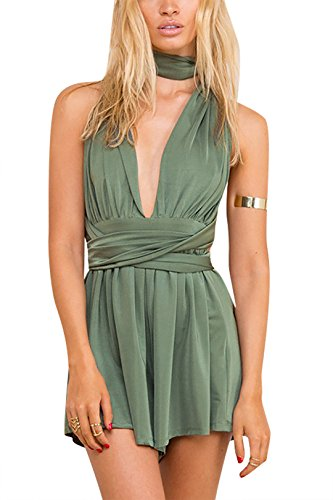 YOINS Women Playsuit Romper Convertible Plunge V Neck Sleeveless Backless Green -