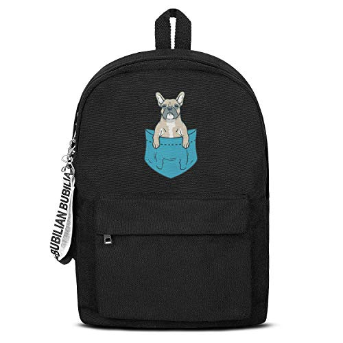 Boston Terrier and French Bulldog College Bookbag Unisex Durable Canvas Rucksack Travel for Men Women or Kids