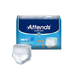 Attends Protective Underwear with DermaDry Technology for Adults Incontinence Care, Medium, Unisex ,  20 Count (Pack of 4)