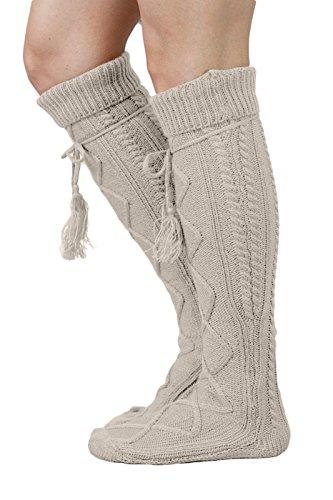 Tie Boot Socks Women's Tall Alpine Boutique Socks Brand by Modern Boho Oatmeal