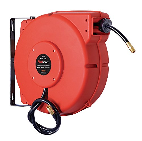 50 Hybrid (ReelWorks L715153A Plastic Retractable Air Compressor/Water Hose Reel with 3/8