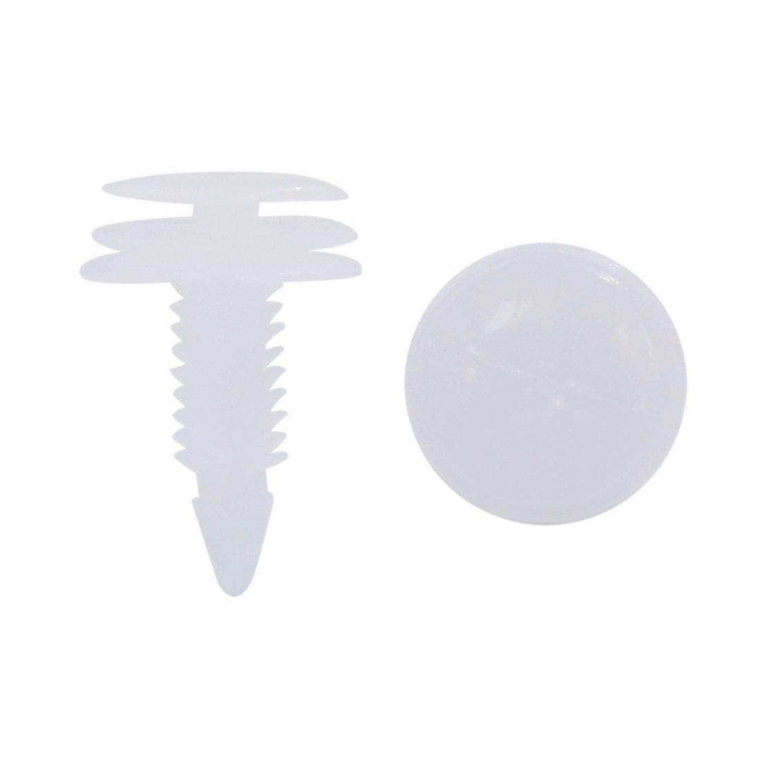 Sourcingmap 100Pcs 8x7,5mm Veh/ículo Grapas de Pl/ástico Blanco Sujeci/ón de Paneles Molduras Remaches
