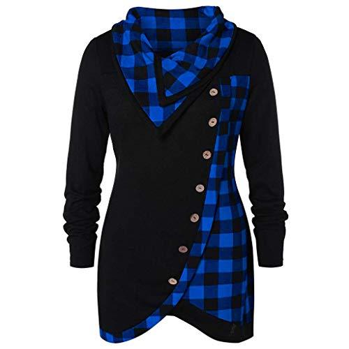Honhui Women's Plaid Side Button Irregular Hem Tunic Top Casual Cowl Neck Long Sleeve Sweatshirt Pullover