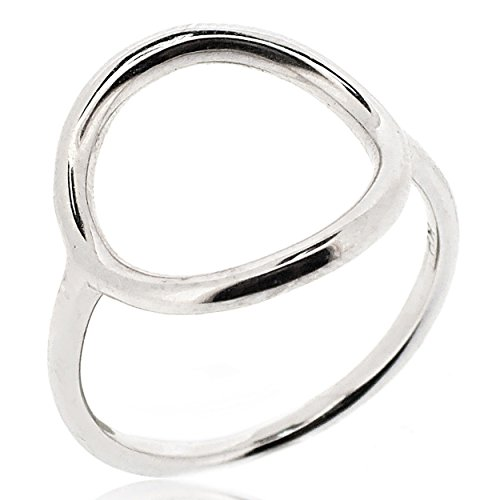 SOVATS Open Circle Ring For Women 925 Sterling Silver Rhodium Plated - Simple, Stylish &Trendy Nickel Free Ring, Size 7