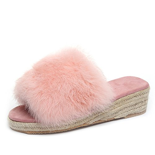Caro Tempo Zeppe In Ecopelle Scamosciate Morbide Donne Espadrillas Slip On Slipper Shoes Pink