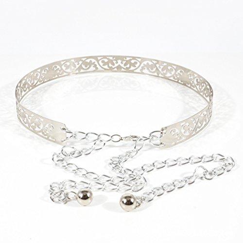 Chain Metal Decoration Dress Party Elegant Waistband Ladies Evening Belts Lihaer Belt Silver Women's SxwUC6H