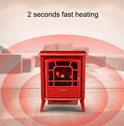 YXIUER 2000W Fireplace Tall Freestanding Fireplace Heater Settings with 3D and and Logs,Red