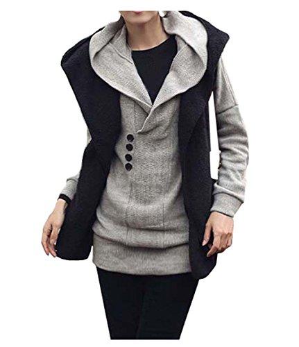 CA Fashion Women's Long Top Hoodie Kint Sweater Knitwear Hooded