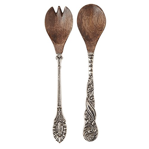 Mud Pie Salad Server Fork and Spoon Set, Brown