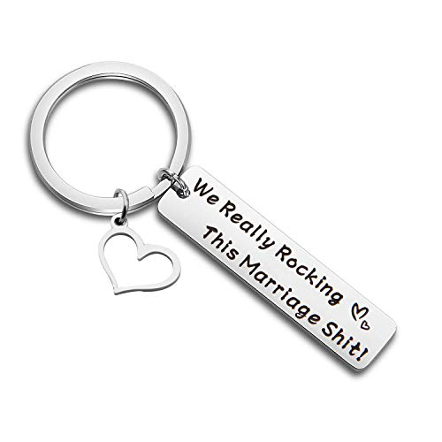 MAOFAED We Really Rocking This Marriage Shit Wedding Husband Wife (Rocking Marriage Shit Anniversary Keychain) by MAOFAED