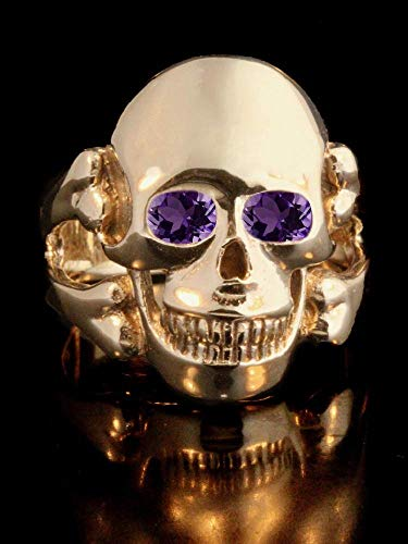 Skull Ring 14K Gold Large Ring With Gemstone Eyes Skull and Cross Bone Jewelry