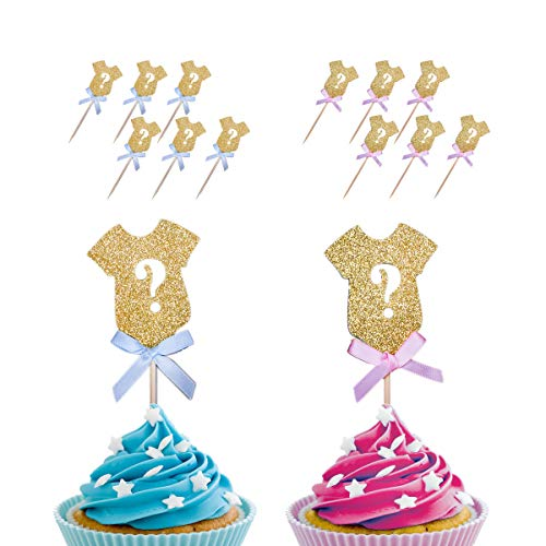 Haley Party Gender Reveal Cupcake Toppers Gold Glitter Gender Reveal Party Decorations Supplies for Baby Shower Party 24 -