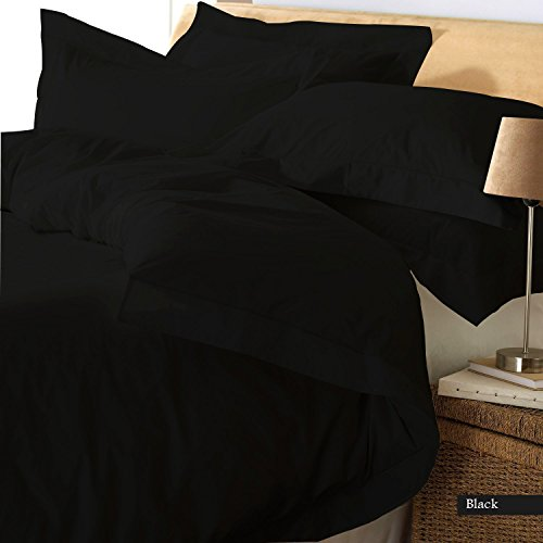 Reliable Bedding Ultra Soft Luxury Premium Organic cotton Solid,3-Piece Duvet Set (1 Duvet Cover & 2 Pillow Shams) 600 Thread Count, Made In India - Italian Finish !!!(Queen/Black) by Reliable Bedding