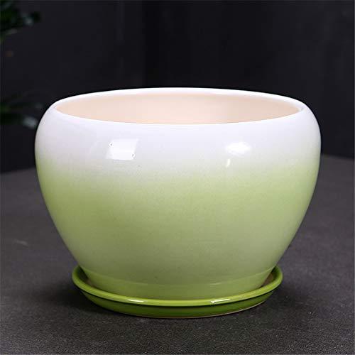 Large Green Ceramic Flower Pot Green Plant Container, Flower Pot Succulent Potted Plant, Succulent Plant Fairy Flower Pot Cactus Flower Pot