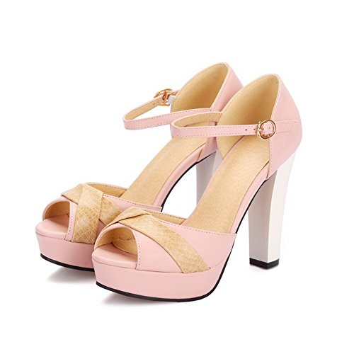 VogueZone009 Women's Buckle Peep Toe High Heels Assorted Color Sandals Pink LZHk7