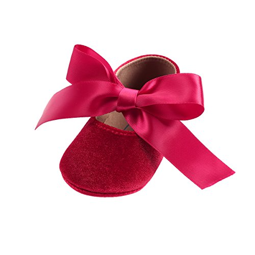 (Kuner Baby Girls Lace Bow Mary Jane Princess Shoes No-Slip First Walkers Shoes (11cm(0-6months), Red))