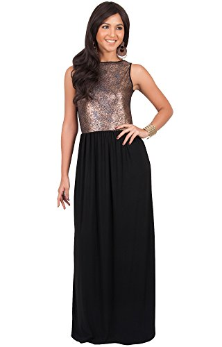 KOH KOH Womens Long Sleeveless Cocktail Evening Bridal Party Sexy Wedding Guest Summer Elegant Bridesmaid Cute Date Sundresses Gown Gowns Maxi Dress Dresses, Gold and Black M 8-10 (1)