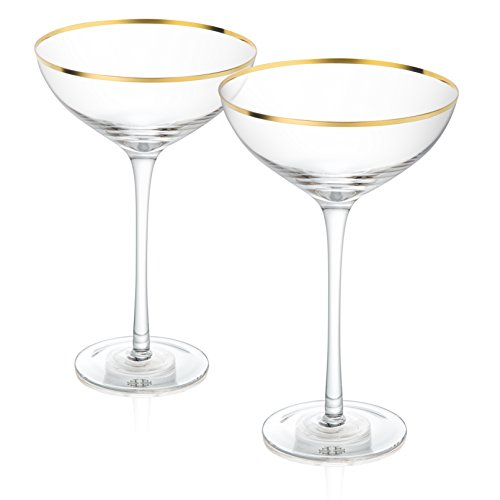 Trinkware Empire Gold Rimmed Set of 2 Stemmed Martini Glasses - Long Stem, 14oz, 8.5-inches Tall - Elegant Glassware And - Coupe Rim