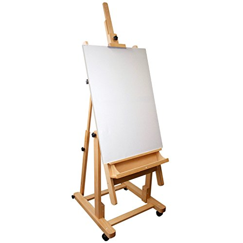 US Art Supply Malibu Extra Large H-Frame Deluxe Adjustable Wood Studio Easel with Tilt and Caster Wheels by US Art Supply (Image #1)