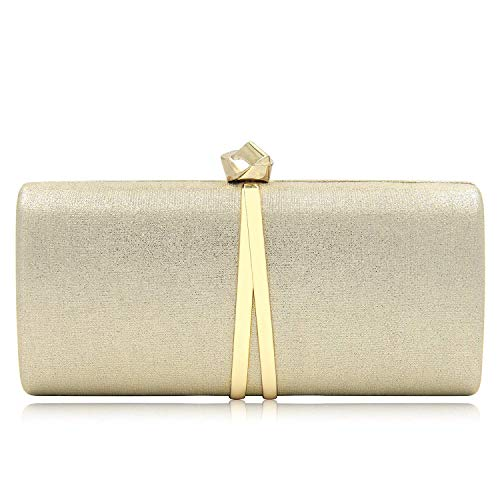 - Women Clutches Solid Evening Bag Sparkling Metallic Clutch Purses For Wedding And Party (Gold)