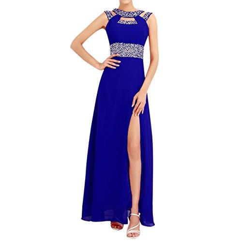 Sue&Joe Women's Formal Dress Chiffon High Slit Backless Long Sequin Evening Gown, Sapphire Blue, Tagsize14=USsizeL