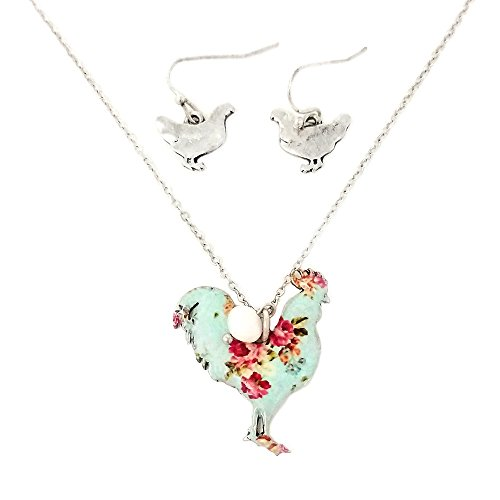 Floral Rooster Pendant Necklace and Earrings with Pearl Charm (Silver ()