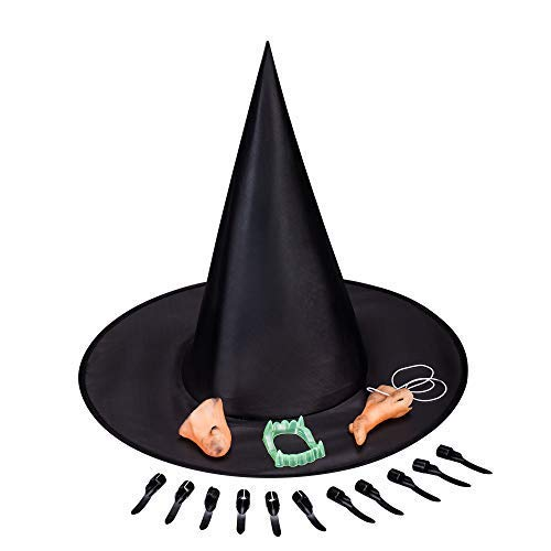 5 in 1 Witch Set for Costume Ball Halloween Party (Nose, Hat, Chin, Teeth, Nails) -
