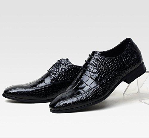 Nbwe High-end Mænds Krokodille Kjole Sko Ægte Læder Business Sko Bryllup Brudgom Groomsmen Sko Sort 647c6N7bE