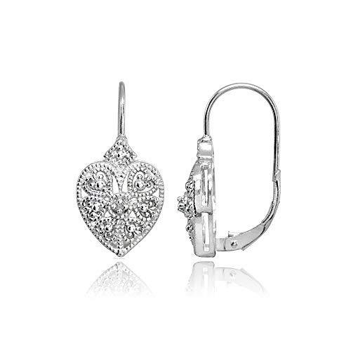 Sterling Silver Diamond Accent Filigree Flower Heart Leverback Drop - Flower Leverback Earrings Diamond