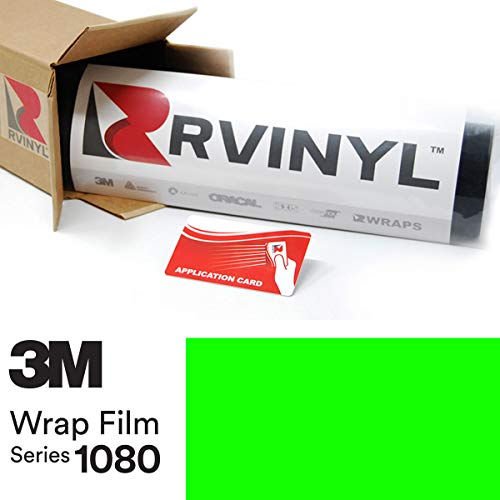 3M 1080 VCW17120 Satin NEON Fluorescent Green 5ft x 1ft W/Application Card Vinyl Vehicle Car Wrap Film Sheet Roll ()