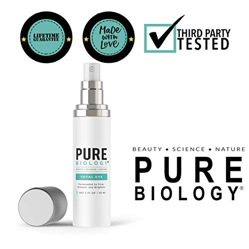 Pure Biology Premium Total Eye Cream Serum - Anti Aging Vitamin C, E & Hyaluronic Acid Reduce Dark Circles, Puffiness, Under Eye Bags, Wrinkles & Fine Lines for Men & Women (1 oz)