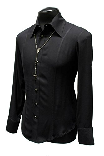 Gothic Dress Shirts (Shrine Gothic Tuxedo Vampire Goth Classic Basic Black Formal Dress Shirt (L))