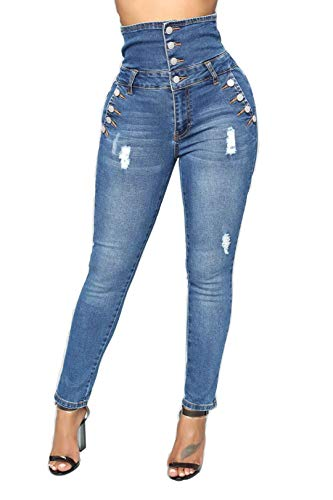 Tengfu Women's Juniors High Waist Ripped Distressed Stretch Skinny Jeans Fashion Buttons Denim Pants Blue