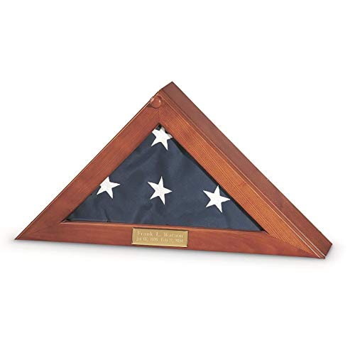 K-AXIS Flag Display Case with Personalized Engraving - for Standard U.S Military Memorial 5' x 9.5' Flags - Solid Wood Flag Shadow Box w/Glass Top