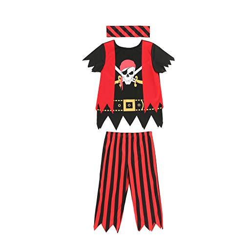 Boys Girls Pirate Costume 3pcs Set for Size 3-4,5-6,7-8,8-10(7-8years)