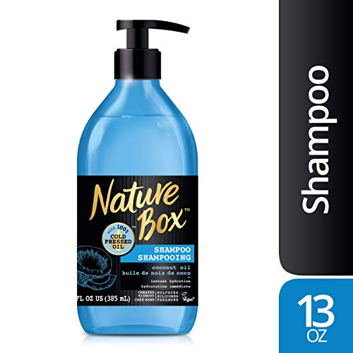 Nature Box Shampoo - for Instant Hydration, with 100% Cold Pressed Coconut Oil, 13 Ounce